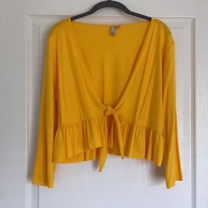 ASOS yellow cropped tie front blouse